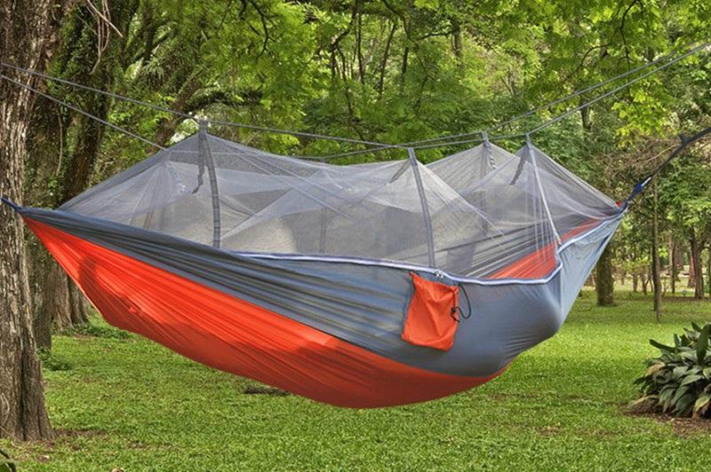 Inspire Uplift Others & Gifts Gray / Orange Treehouse Mosquito Net Hammock