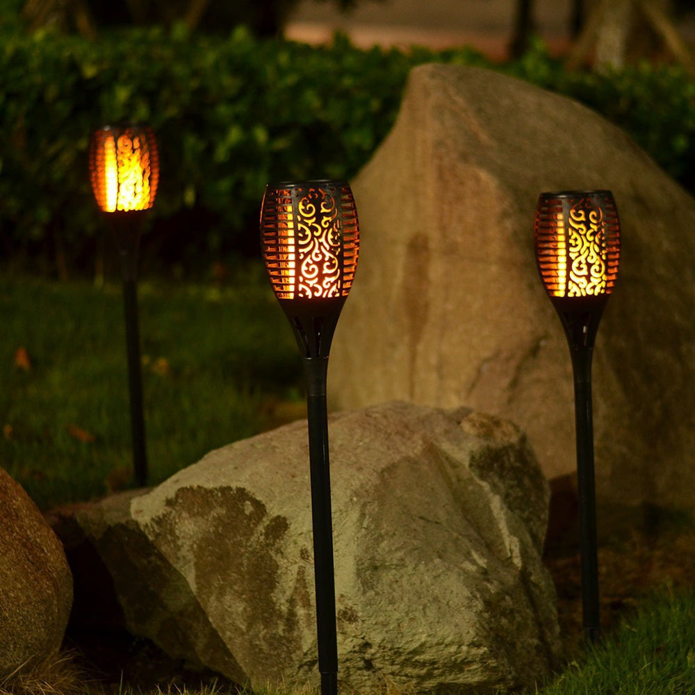 Inspire Uplift Outdoor Solar Flame Light Torch 2 Pcs Black Outdoor Solar Flame Light Torch 2 Pcs