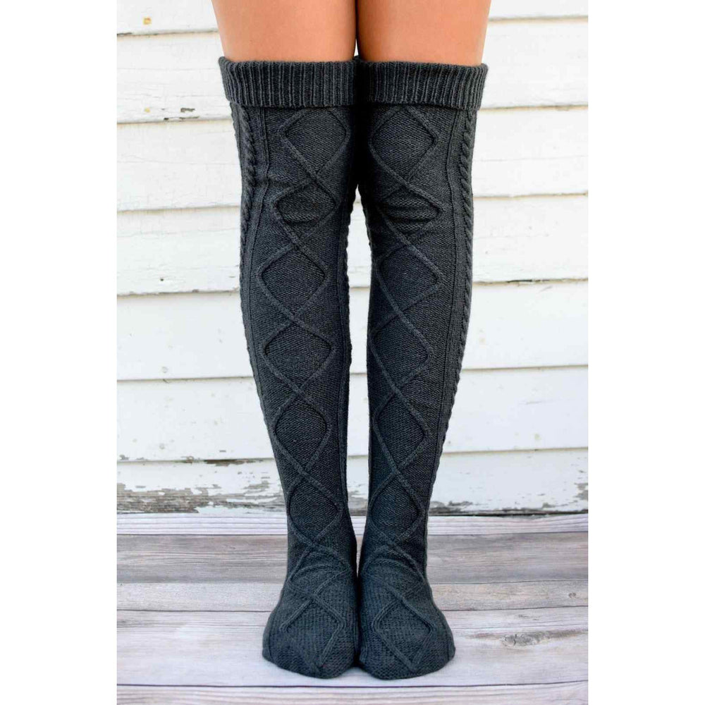 Inspire Uplift Over The Knee Knit Socks Black Over The Knee Knit Socks