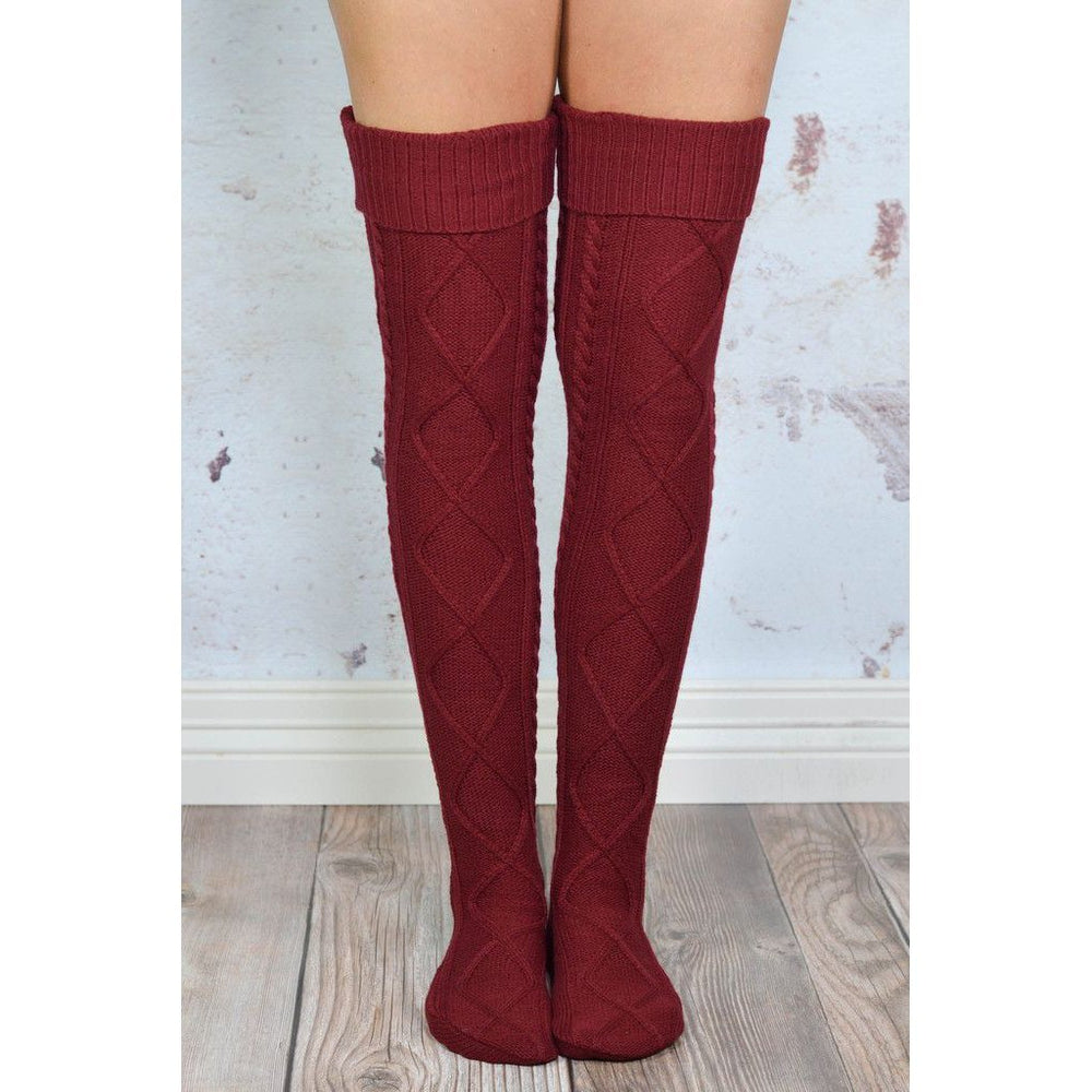 Inspire Uplift Over The Knee Knit Socks Burgundy Over The Knee Knit Socks