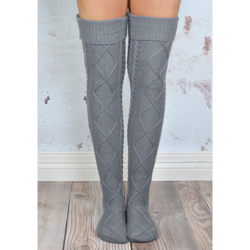 Inspire Uplift Over The Knee Knit Socks Gray Over The Knee Knit Socks