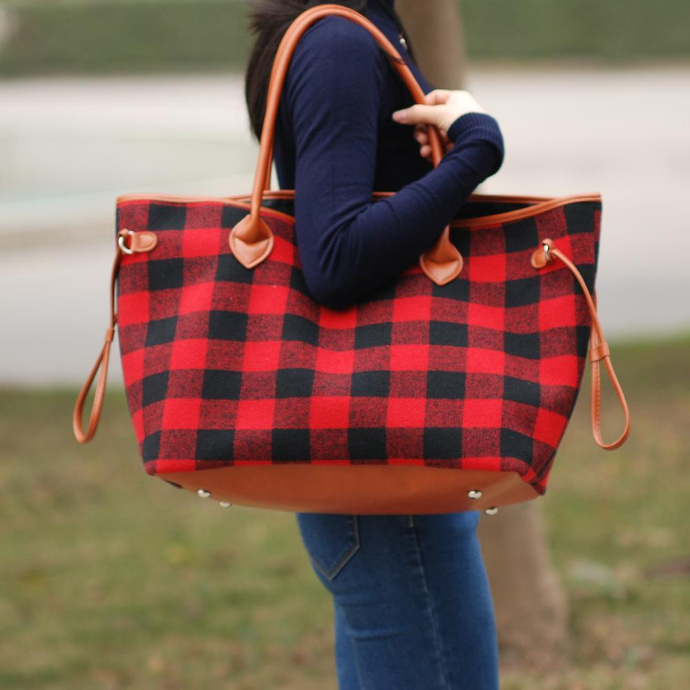 Inspire Uplift Red Plaid Weekender Tote Bag