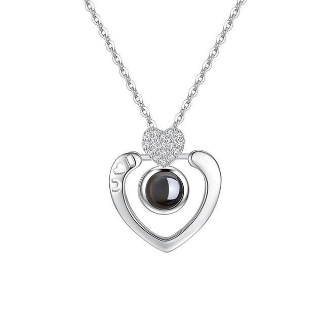 Inspire Uplift silver double heart / 40cm Hidden Message Lovers Necklace