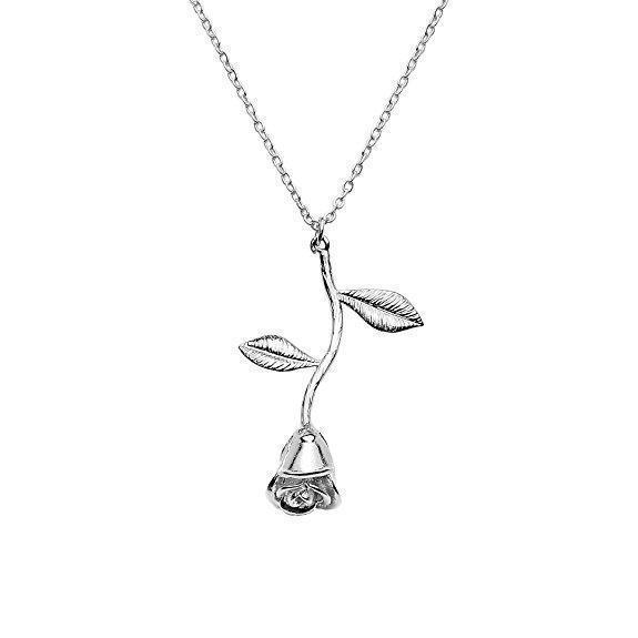 Inspire Uplift Silver Rose Pendant Necklace