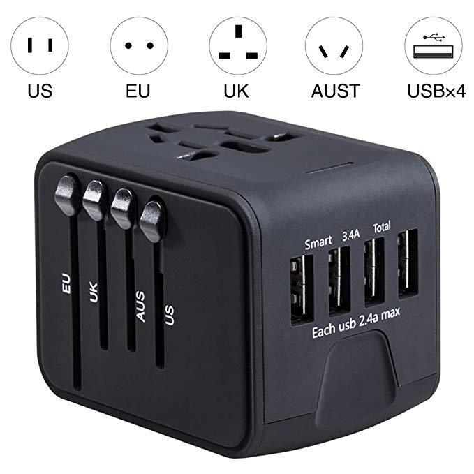Inspire Uplift Smart Travel Adapter Black Smart Travel Adapter