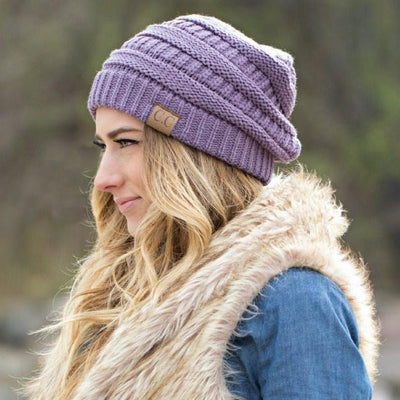 Inspire Uplift Soft Knit Slouchy Beanie Purple Soft Knit Slouchy Beanie