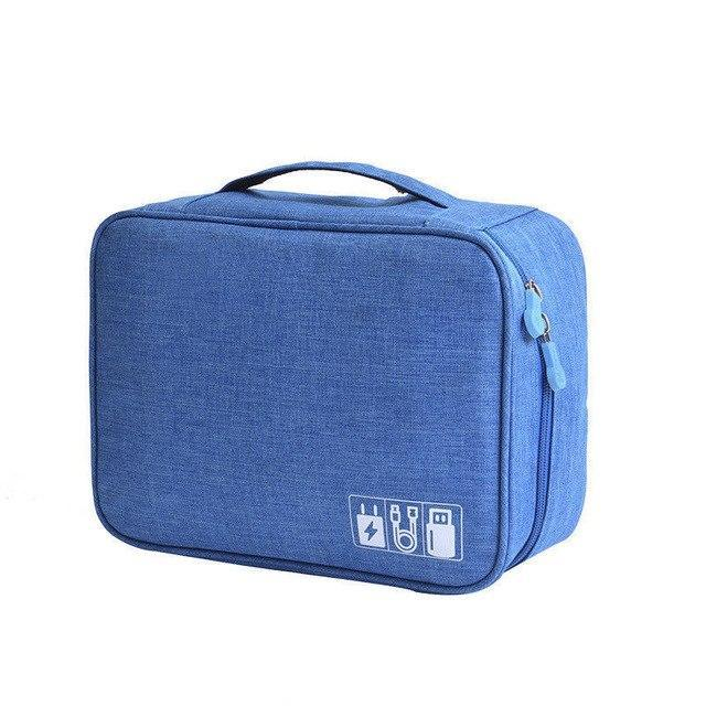 Inspire Uplift Tech Travel Organizer Bag Blue US Waterproof Travel Storage Bag Electronics USB Charger Case Cable Organizer