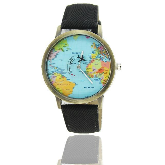 Inspire Uplift Vintage World Traveler Watch Black Vintage World Traveler Watch