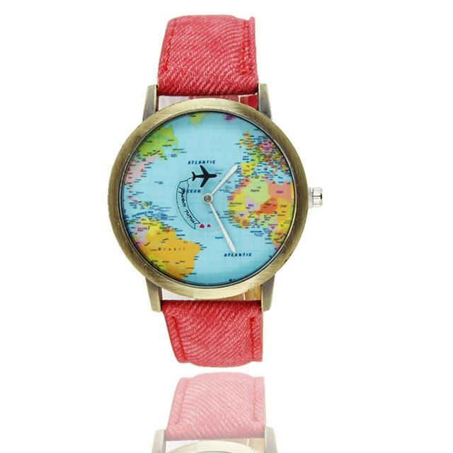 Inspire Uplift Vintage World Traveler Watch Red Vintage World Traveler Watch
