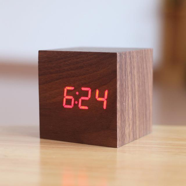 Inspire Uplift Walnut/Orange Light Modern Digital Wood Clock