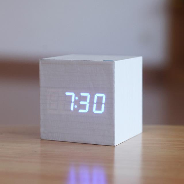 Inspire Uplift White/Blue Light Modern Digital Wood Clock