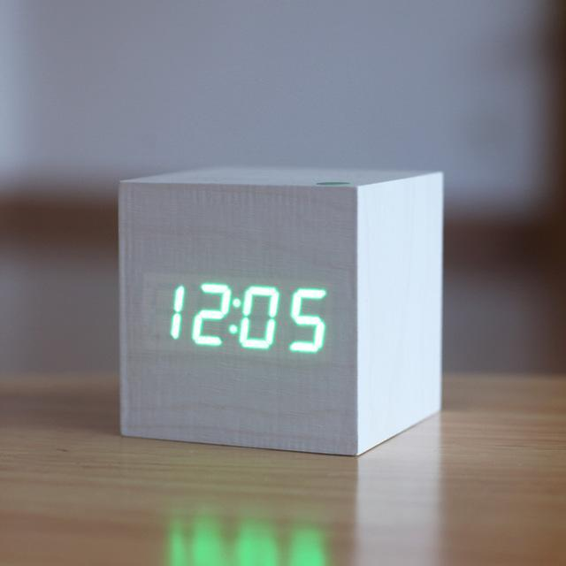 Inspire Uplift White/Green Light Modern Digital Wood Clock