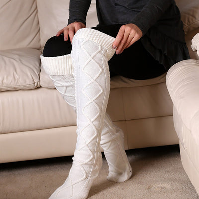 Inspire Uplift White Over The Knee Knit Socks