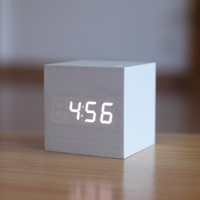 Inspire Uplift White/White Light Modern Digital Wood Clock