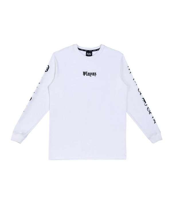 Playaz Gangsta Long Sleeve White