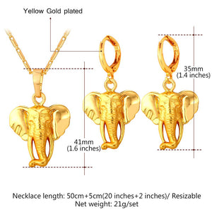 Cute Elephant Earrings And Necklace Jewelry Sets - Shop at GlamoRight.Com