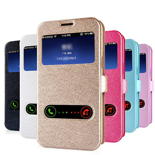 Smart Front Window View Leather Flip Case For Samsung Galaxy J1 J3 J5 J7 2016 A3 A5 A7 Grand Prime S7 S6 Edge S5 cases