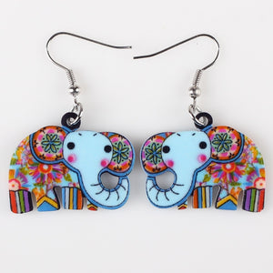 Elephant  Acrylic Pattern Long Dangle Earrings - Shop at GlamoRight.Com