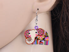 Elephant  Acrylic Pattern Long Dangle Earrings