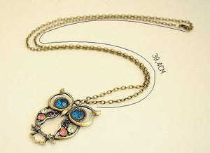 Vintage Crystal Owl Pendant Animal Necklace Women - Shop at GlamoRight.Com