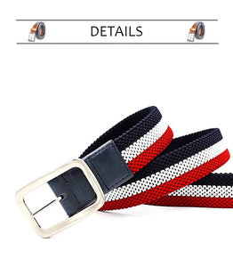 Men's Elastic Reversible Belt  Without Holes ) With Mixed Color Stretch Woven Canvas Belt - Shop at GlamoRight.Com