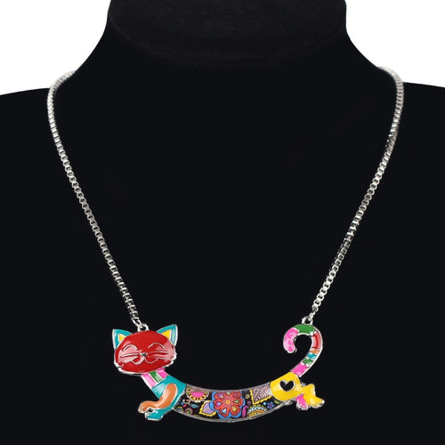 Enamel Cat Choker Necklace Chain Pendant - Shop at GlamoRight.Com