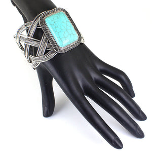 Ethnic Nature Stone Bracelet For Women Statement Owl Butterfly Shaped Width Cuff Bangles - Shop at GlamoRight.Com