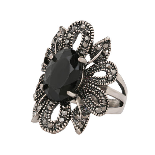 Vintage Black Crystal Ring - Shop at GlamoRight.Com