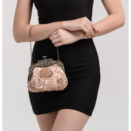 Retro Floral Rhinestone beaded Shoulder Bag Clutch - Shop at GlamoRight.Com