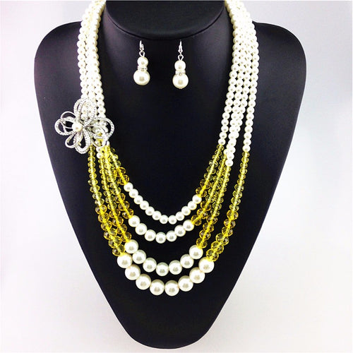 Simulated double pearl earrings necklace sets