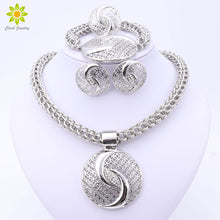 Luxury Big Silver Plated Crystal Necklace Jewelry Sets