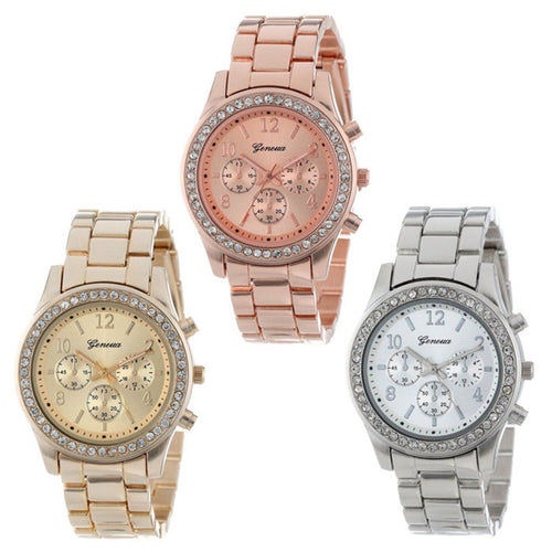 Faux Chronograph Quartz Plated Classic Crystals Round Ladies Women Watch