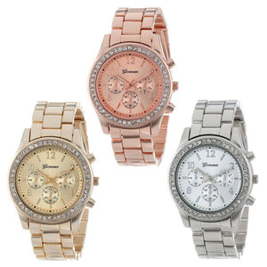 Faux Chronograph Quartz Plated Classic Crystals Round Ladies Women Watch - Shop at GlamoRight.Com