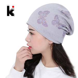 Womens Beanie Brand Knitted Hat Turban Butterfly Diamond