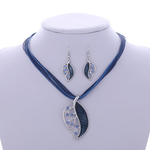 Multilayer Leather Chain Leaves Pendant Necklaces Drop Earrings Jewelry Set