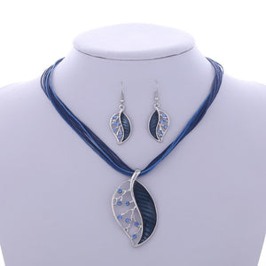Multilayer Leather Chain Leaves Pendant Necklaces Drop Earrings Jewelry Set - Shop at GlamoRight.Com