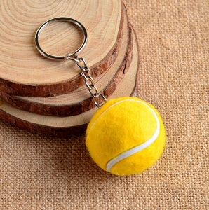 Tennis Ball Metal Keychain