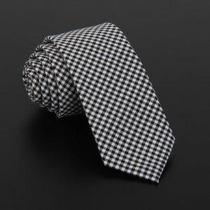 High quality plaid men cotton and fabric linen cloth tie 5.5cm skinny necktie - Shop at GlamoRight.Com