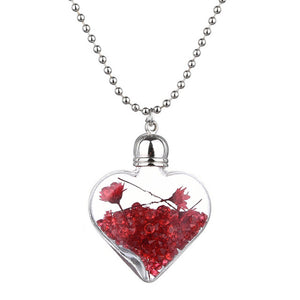 Transparent Heart Glass Bottle  Dried Flower Wish Bottle Pendants Necklaces - Shop at GlamoRight.Com