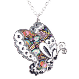 Metal Alloy Enamel Butterfly Choker Necklace - Shop at GlamoRight.Com
