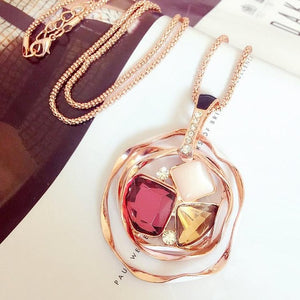 Chain Crystal  Pendant Necklace - GlamoRight.Com
