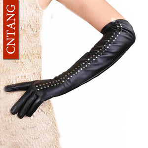 Rivet High Black Elbow Length Quality Artificial Leather Warm Gloves - Shop at GlamoRight.Com
