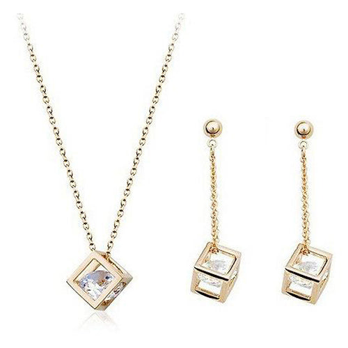 Cube Zircon Crystals Jewellery Set