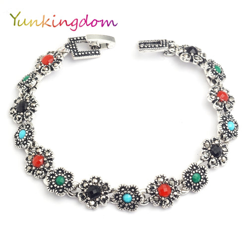 Vintage bijouterie ethnic style resin silver bracelet - Shop at GlamoRight.Com
