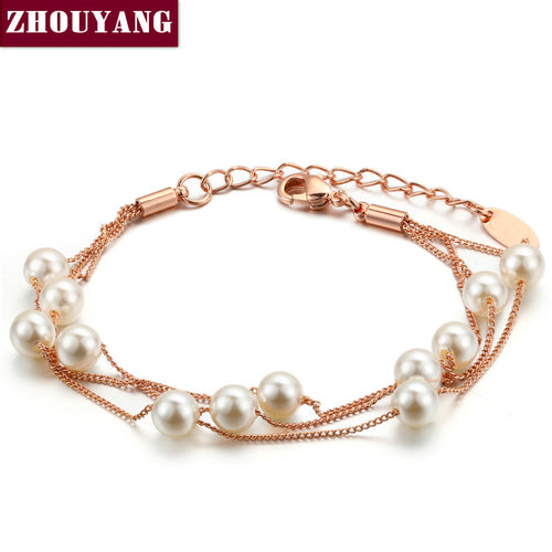 Pearl Chain Rose Gold Bracelet - Shop at GlamoRight.Com