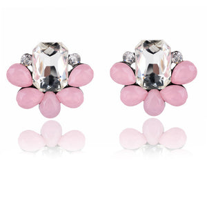 Colorful Crystal Earrings Opal Stone Stud Earrings - Shop at GlamoRight.Com
