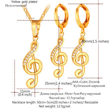 Music Note Symbol Drop Earrings And Necklace Set - Shop at GlamoRight.Com
