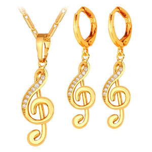 Music Note Symbol Drop Earrings And Necklace Set