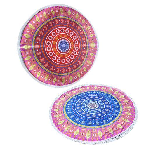 Summer Beach Towels Floral Printed Round / Yoga Mat