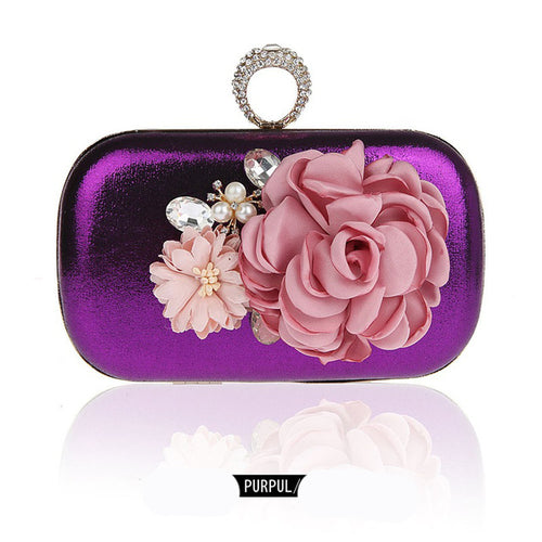 Finger Ring Flowers Evening Clutches - Shop at GlamoRight.Com